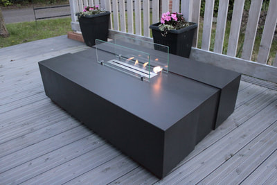 large concrete biofire coffee table