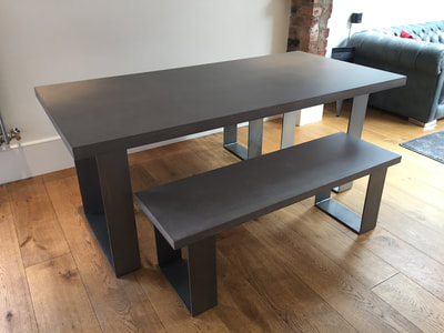 industrial grey concrete dining table bench